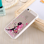 marco del tpu patrón chica mariposa translúcida dura pc y cordón trasera para el iPhone 5 / 5s