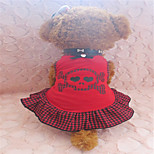 Holdhoney Red And Black Plaid With Skull Pattern Cotton Vest Dresses For Pets Dogs (Assorted Sizes) #LT15050193