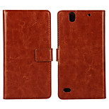 Horse Grain PU Leather Full Body Case with Stand and Card Slot for Sony Xperia C4 (Assorted Colors)