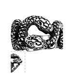 Classical Individual No Decorative Stone Men's Double Snakes Stainless Steel  Ring(Black)(1Pc)
