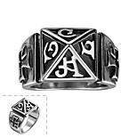 Classical Generous No Decorative Stone Men's Roman Character Cross Stainless Steel Ring(Black)(1Pc)