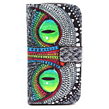 Fashion Design COCO FUN® Green Eye Cat Pattern PU Leather Wallet Case Cover for  Wiko Lenny