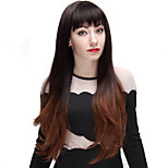 Ombre Wigs Black and Light Brown 28 Inch Long Fashion Wave Synthetic Wig with Full Bangs