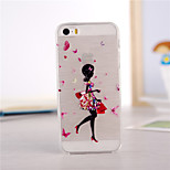Butterfly Girl Pattern TPU Soft Case for iPhone 5/5S