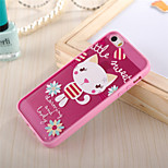 Pink Cat Pattern TPU Frame Translucent PC Hard And Lanyard Back Case for iPhone 5/5S