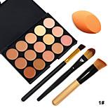 15 Colors Facial Concealer Palette+3pcs Makeup Brushes+Beauty Makeup Foundation Egg Puff(Assorted Sets)