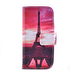 Red Tower Pattern PU Material Card Full Body Case for iPhone 6