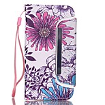 EFORCASE® Big Purple Flower Split Lanyard Painted PU Phone Case for iphoneSE/5S/5/6/6S/6plus/6S plus