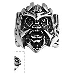 Classical Wild Generous No Decorative Stone Men's Skull Stainless Steel Ring(Black)(1Pc)