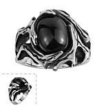 Fashion Individual No Decorative Stone Men's Irregularity Stainless Steel Ring(Black)(1Pc)