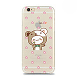 Pink Flower Bear Pattern TPU Soft Case for iPhone 6