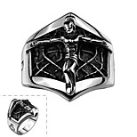Fashion Individual No Decorative Stone Men's Cross Jesus Stainless Steel Ring(Black)(1Pc)