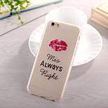 patrón de labios rojo TPU caso suave para el iphone 6