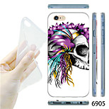 MAYCARI®Flower Skull Pattern TPU Soft Transparent Back Case for iPhone 6