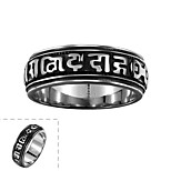 Classical Simple No Decorative Stone Men's Unique Figure Stainless Steel Ring(Black)(1Pc)
