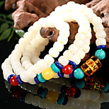 Natural color White Bodhi Root Drum Bead Bracelet