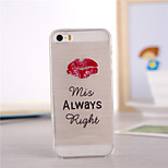 Red Lips Pattern TPU Soft Case for iPhone 5/5S