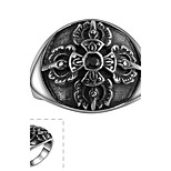 Classical Generous No Decorative Stone Men's Black Cubic Zirconia Stainless Steel Ring(Black)(1Pc)