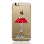 moomin avec parapluie rouge TPU capot arrière souple transparent pour iPhone 6 / 6s