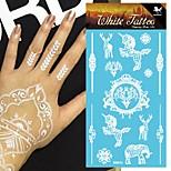 King Horse®5sheets Henna  Wedding  Henna India Tattoo Stickers White   Non Toxic/Wedding /Hawaiian  20.5*10cm Flower