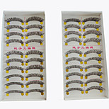 20 Pairs Beauty Fashion Styles Makeup European Fiber Eyelash Brown Black Color Handmade Natural Long False Eyelashes