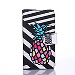 Black and White Pineapple Pattern PU Leather Full Body Case with Stand for Sony Xperia Z4 Mini