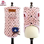 FUN OF PETS® Lovely Pink Heart Printing Bear Decorated Cotton Coat Dog Clothes with Hoodie for Pets Dogs