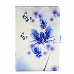Blue Butterfly Flower Pattern Diamond Inlay Pattern PU Leather Full Body Case With Stand for iPad Mini 4