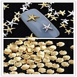 50PCS Mixed Size Gold Silver Metal Starfish Star & Shell Rivet Nail Art Decorations