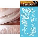 King Horse®5sheets  Henna India Wedding Tattoo Stickers White   Non Toxic/Wedding /Hawaiian  20.5*10cm Flower