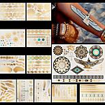 12pcs Body Art Temporary Tattoos Gold Silver Black Flash Metallic Sticker Jewelry Waterproof Chains Bracelet Necklace
