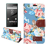 Flower Pattern Cloth+PU Leather Case Card Slots with Holder for Sony Xperia Z5 (Assorted Colors)