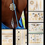 6pcs Mixed Body Art Temporary Tattoos Gold Silver Flash Metallic Necklace Sticker Women Jewelry Waterproof