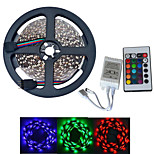 JIAWEN® 5M 300-3528 SMD RGB LED Strip Light with 24Key Remote Controller (DC12V /5M)