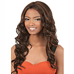 Capless Brown Long High Quality Natural Curly Synthetic Wig with Middle Bang