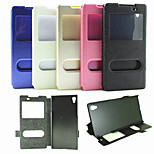 Double Opening Window Flip Cover Support Silk Grain Fashion PU Mobile Phone Shell for Sony Z4 Assorted Colors