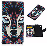 The Wolf of The Forest Pattern PU Leather Case Cover with Stand and Card Holder for Sony Xperia M4