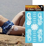 King Horse® White Tattoo Stickers Non Toxic/Hawaiian/Waterproof Flower Series Paper 5pcs 20.5*10cm