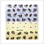 2pcs  Mixed  Feather And  Butterfly Nail Stickers