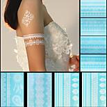 8pcs Body Art Temporary Tattoos White Flash Metallic Henna Lace Tattoo Sticker Women Jewelry Tattoo Waterproof