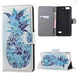 Blue Pineapple  Leather Wallet Flip Stand Case cover For Huawei Honor 4C Mobile Phone Cases Covers