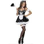Black Polyester French Maid Women's Halloween Costumes