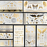 10pcs Body Art Temporary M-T Fantasy Dreams Gold Silver Flash Metallic Tattoos Sticker Jewelry Waterproof Flowers