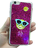 Bright Flash Powder Glasses Smiling Face Design TPU Soft Back Case Cover for iPhone 6(Assorted Colors)