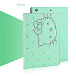 Diamond Shining Cute Cat Flip Case Cover for iPad 2/3/4(Assorted Colors)