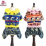 FUN OF PETS® Fashionable Cartoon Puppy Pattern Collar Shirt Jumpsuit Dog Clothes for Pets Dogs