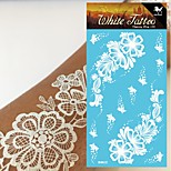 King Horse®Henna White Color Wedding  Tattoo Stickers   Non Toxic/Wedding /Hawaiian  20.5*10cm Flower Series 5pcs