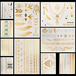 10pcs Body Art Temporary YS Gold Silver Black Flash Metallic Tattoos Sticker Chains Bracelet Necklace Jewelry Waterproof