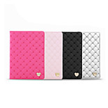 Diamond Lattice for Love-heart Stand PU Leather Case for iPad Mini 1/2/3(Assorted Colors)