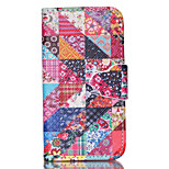 Flower Pattern PU Leather Full Body Case with Stand and Card Slot for iPhone 4/4S